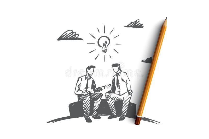 企业想法,伙伴,一起,配合概念 手拉的被隔绝的传染媒介 库存例证
