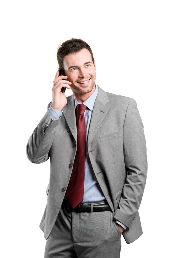 企业愉快的人移动联系 免版税库存照片