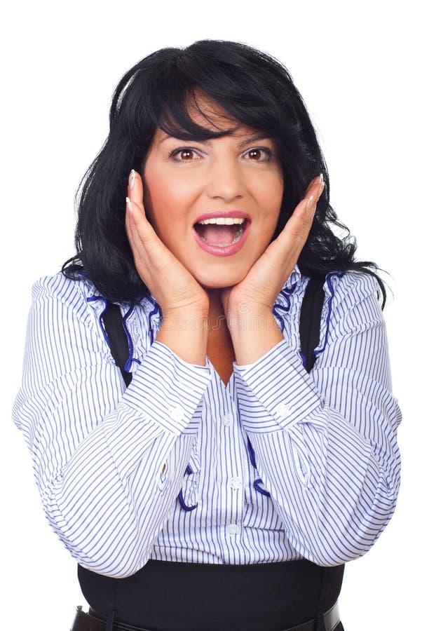 企业愉快的惊奇的妇女 免版税库存图片
