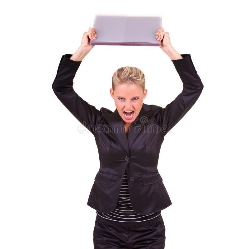 企业愤怒的妇女年轻人 免版税库存图片