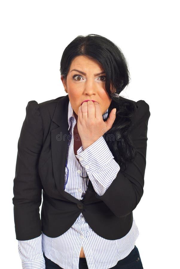 企业愤怒的强调的妇女 免版税图库摄影