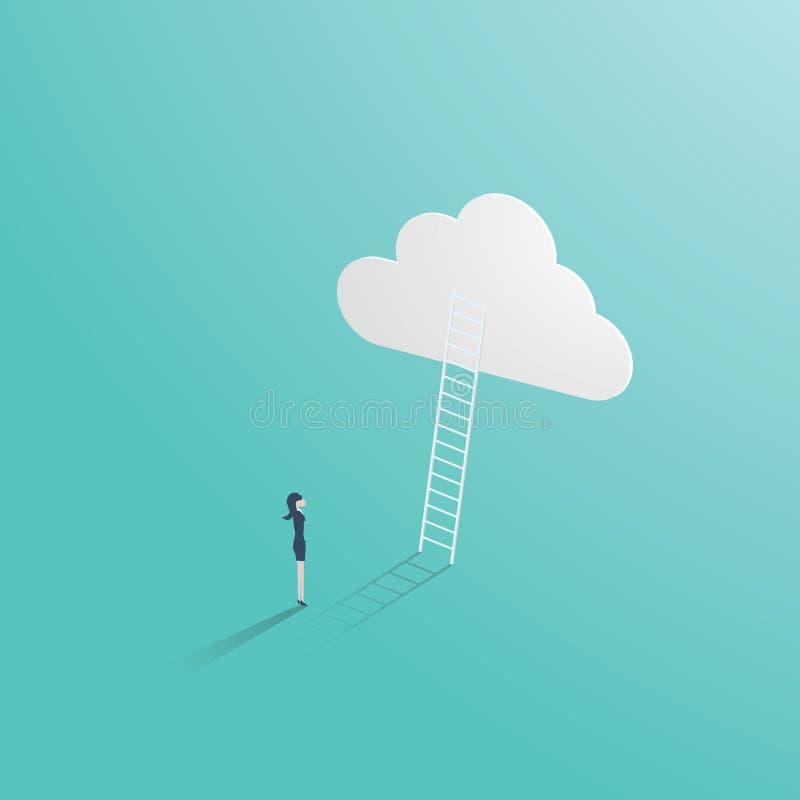 企业成功与站立在梯子前面的商人的传染媒介概念导致对云彩 事业的标志 皇族释放例证
