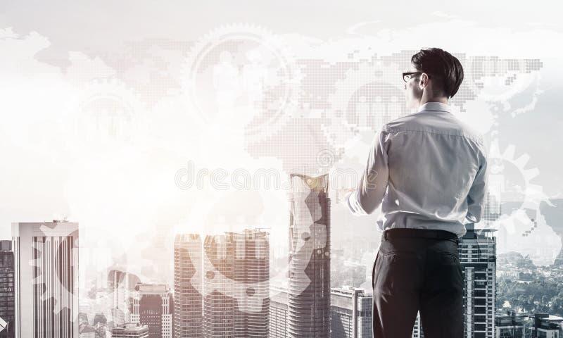 企业成功和控制的概念与确信的上司agai 向量例证