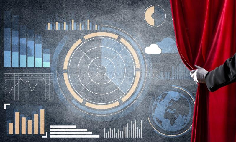 企业成功在混凝土墙上的infographs提出的战略概念 库存例证