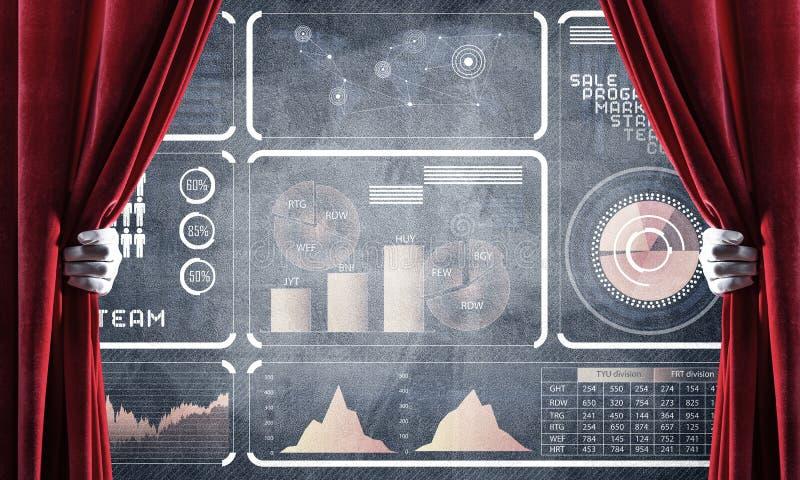 企业成功在混凝土墙上的infographs提出的战略概念 皇族释放例证