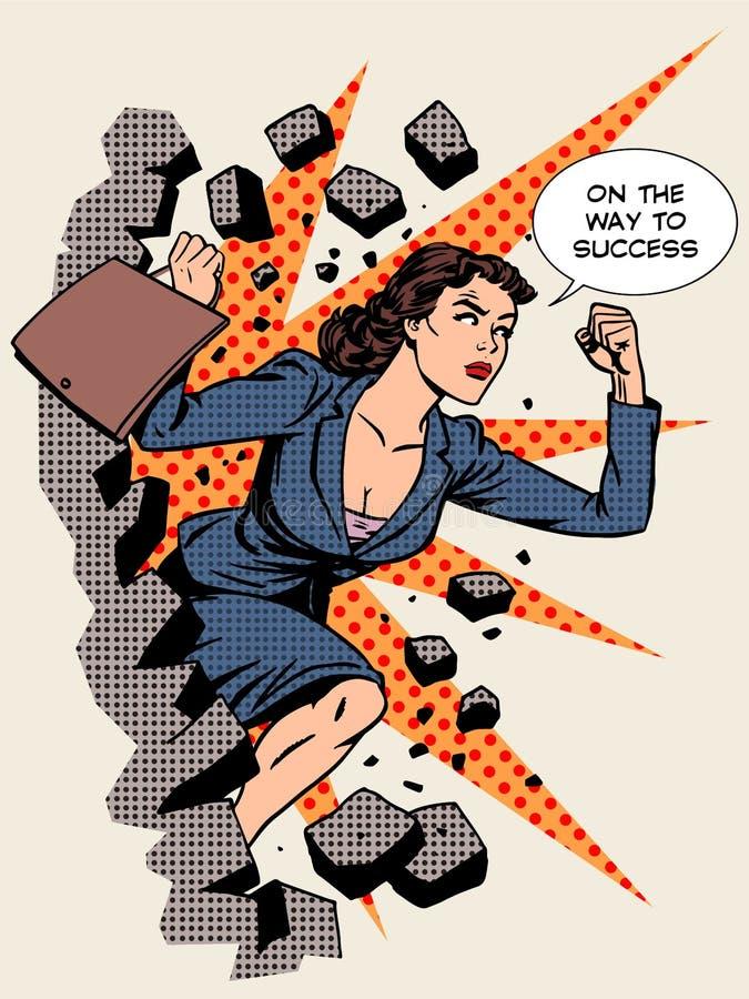 企业成功女实业家打破墙壁 向量例证
