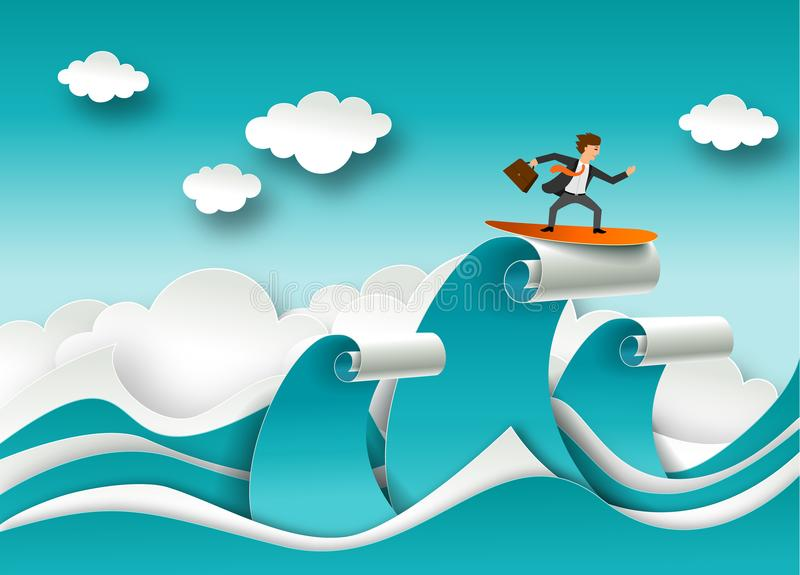 企业成功概念在纸艺术origami样式的传染媒介海报 冲浪在波浪的上面的商人 艺术品设计自然海运纹理通知 皇族释放例证