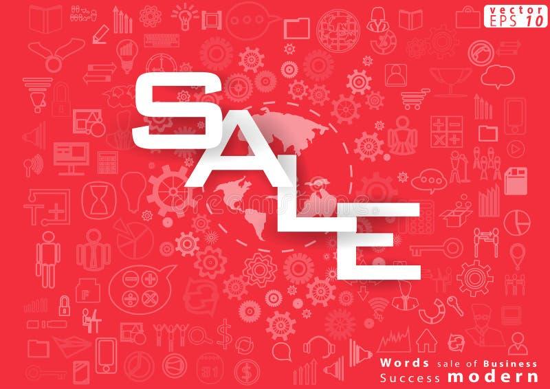 企业成功现代设计想法和概念与世界,象的传染媒介例证词销售  向量例证