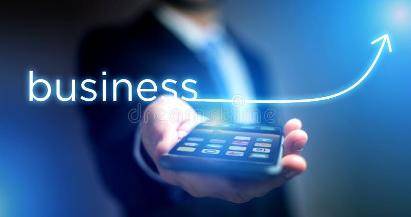 企业成功的概念与上升在技术的箭头的 库存照片