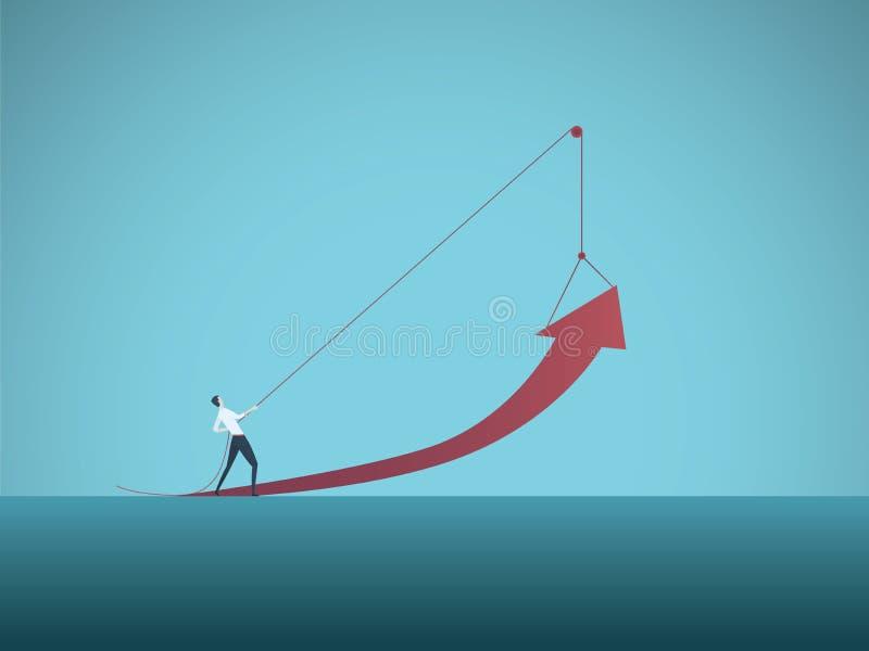 企业成长与拉扯箭头在滑轮的商人的传染媒介概念 成功,成就,挑战的标志 库存例证