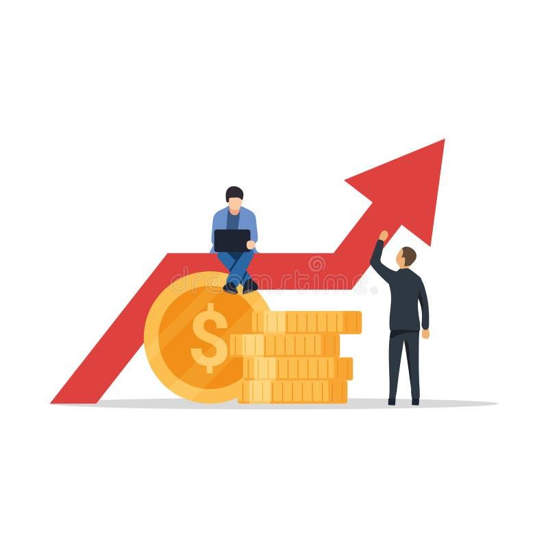 企业成长图表 表明成长的成功的商人运载的图表 在指向箭头企业买卖人概念巨型的增长附近 平的传染媒介 向量例证