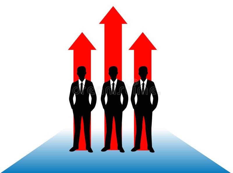 企业成长概念,商人与生长在白色背景例证隔绝的红色箭头的剪影图象 向量例证
