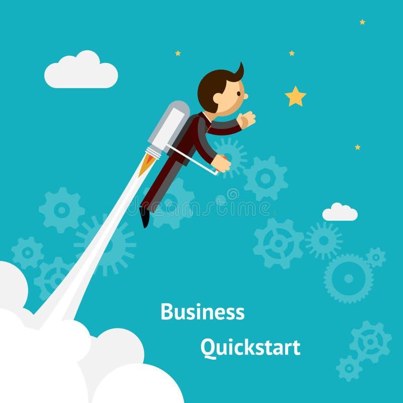 企业成长的动画片设计和开始  库存例证