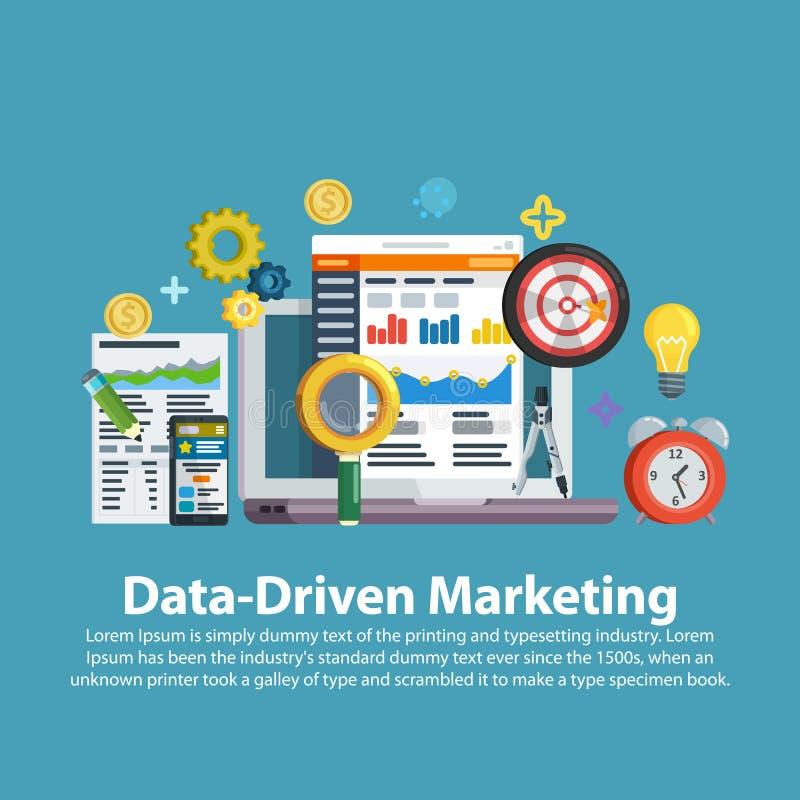 企业成长逻辑分析方法和估价发展 数据驱动销售方针 在平的样式的网模板 企业developm 库存例证