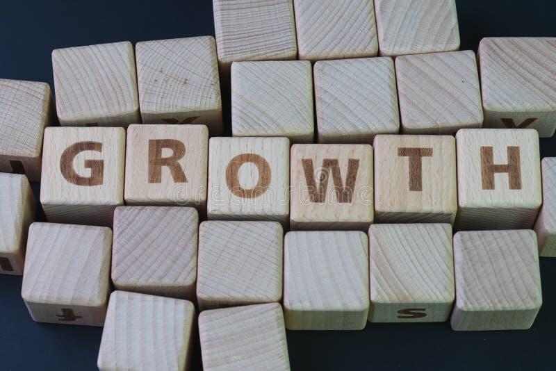 企业成长,公司扩展得到更多收支概念,与建立词成长的字母表的立方体木块在 免版税图库摄影