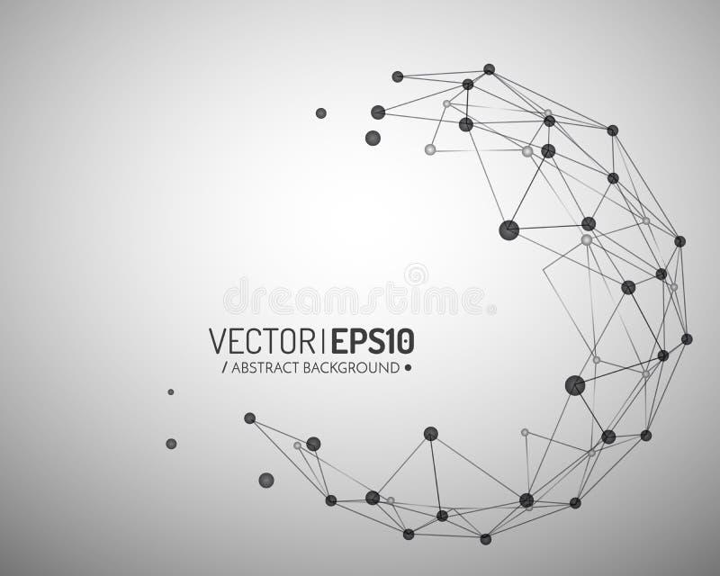 企业或科学介绍的几何传染媒介背景 3d概念连接数齿轮机构 库存例证