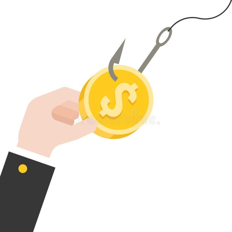 企业手劫掠在钓鱼钩,平的设计的美元硬币 库存例证