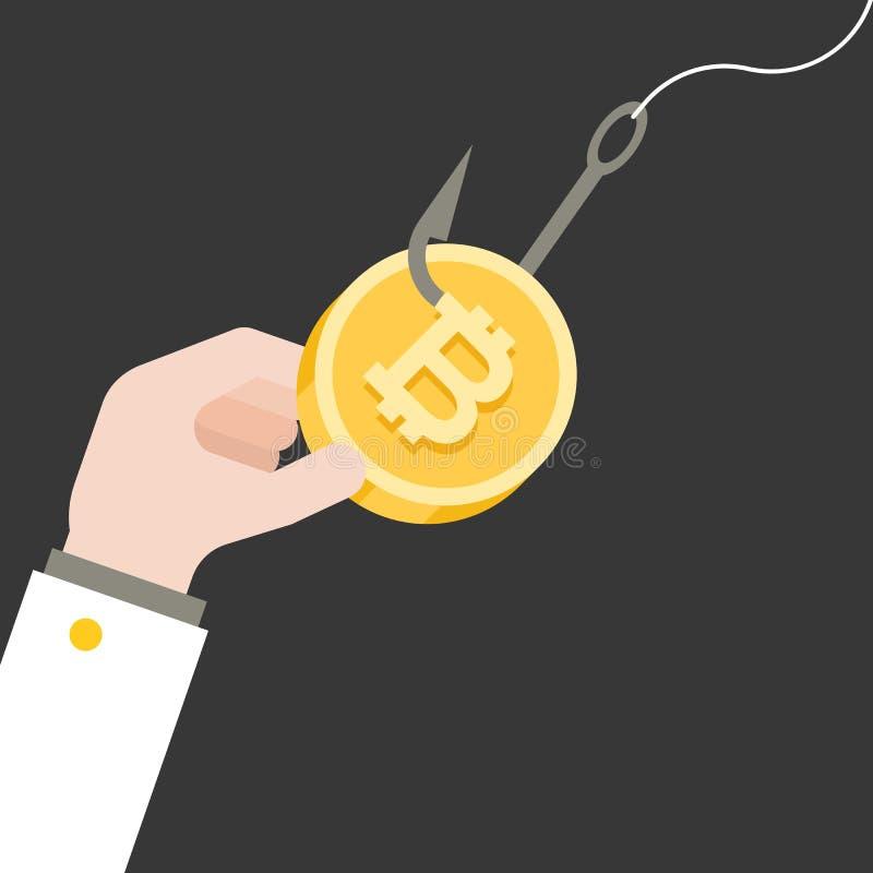 企业手在钓鱼钩的劫掠bitcoin,平的设计 皇族释放例证