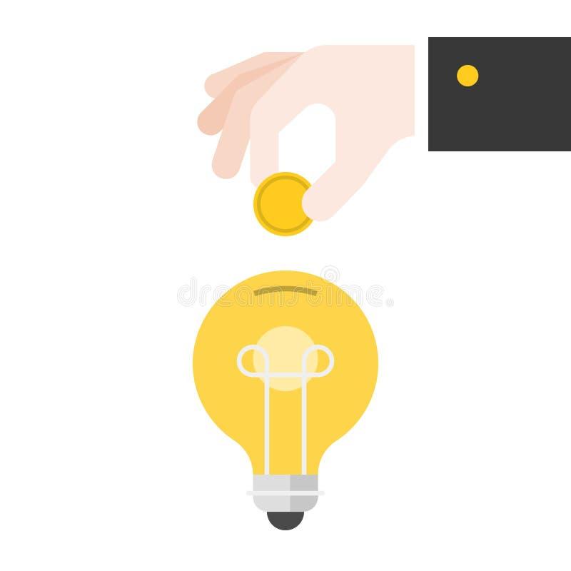 企业手插入物硬币到电灯泡,平的设计里 向量例证