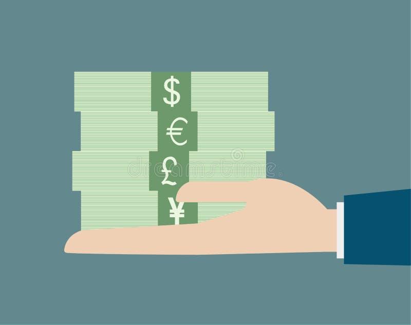企业手藏品堆金钱货币概念 库存例证