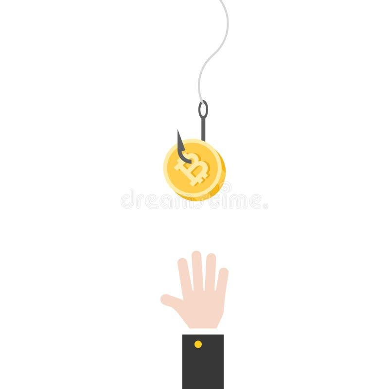 企业手设法劫掠在钓鱼钩的bitcoin,平的设计 库存例证