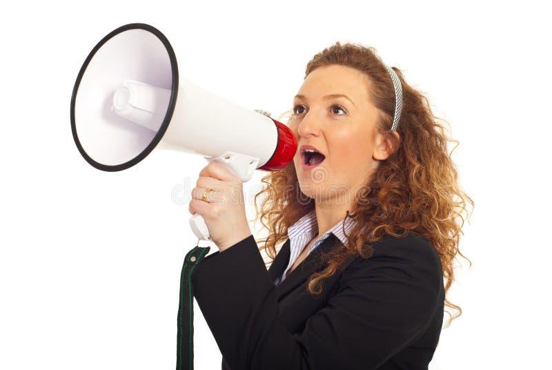 企业扩音器呼喊的妇女 库存图片