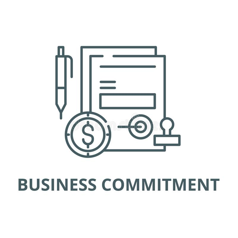 企业承诺线象,传染媒介 企业承诺概述标志,概念标志,平的例证 库存例证