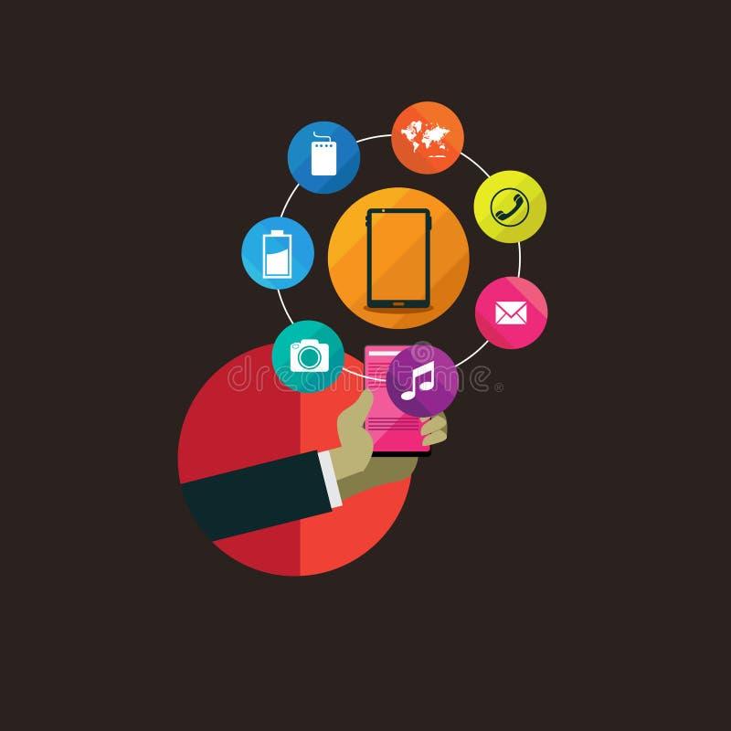 企业技术的平的设计观念 库存例证