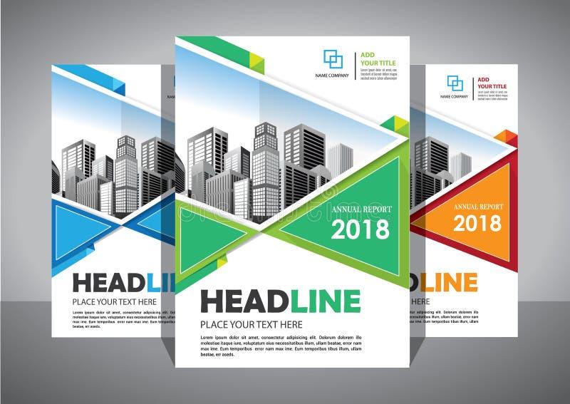 企业抽象传染媒介模板 小册子设计,盖子现代布局,年终报告,海报,在A4的飞行物与五颜六色的三角 免版税库存图片