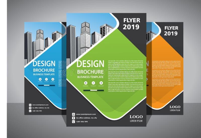 企业抽象传染媒介模板 小册子设计,盖子现代布局,年终报告,海报,在A4的飞行物与五颜六色的三角 向量例证