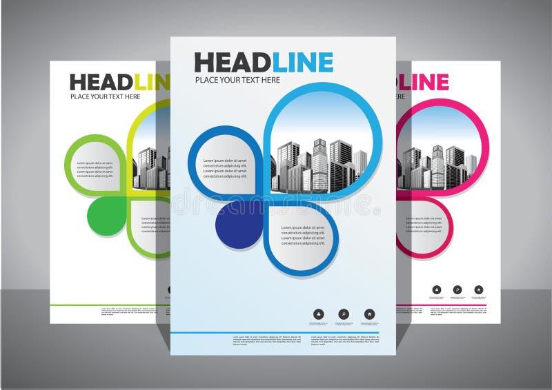 企业抽象传染媒介模板 小册子设计,盖子现代布局,年终报告,海报,在A4的飞行物与五颜六色的三角 库存例证