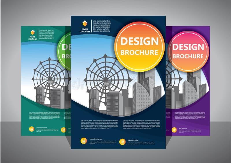 企业抽象传染媒介模板 小册子设计,盖子现代布局,年终报告,海报,在A4的飞行物与五颜六色的三角 皇族释放例证