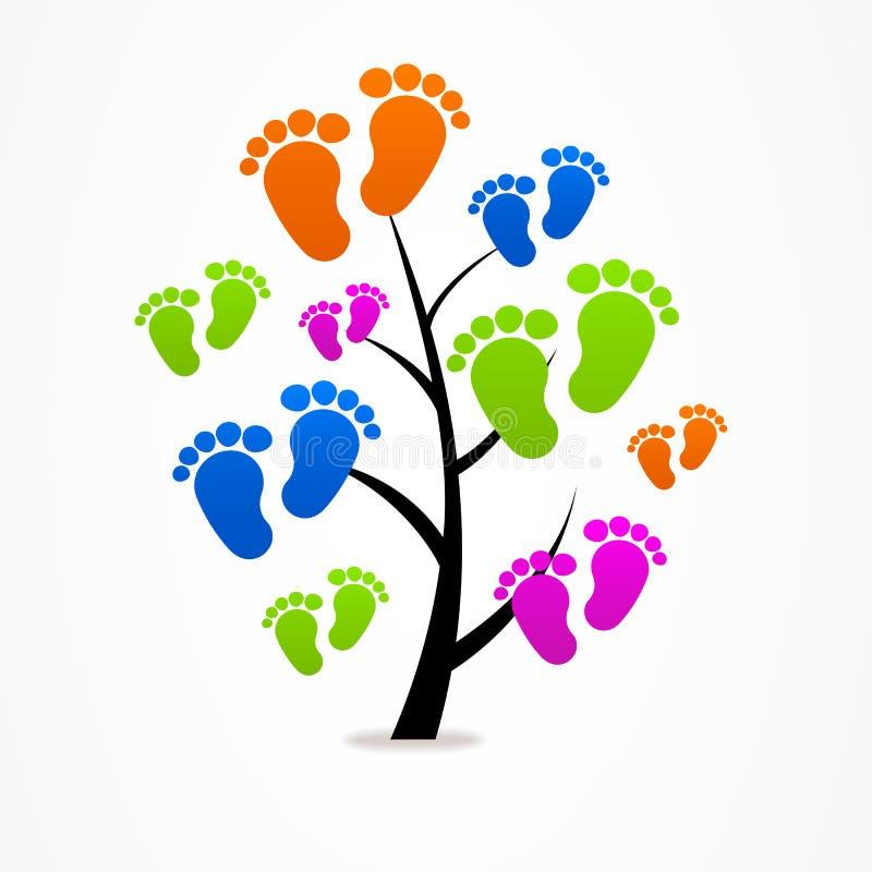 企业抽象树婴孩追踪商标 库存例证