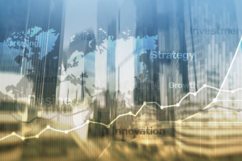 企业抽象背景两次曝光图表、图和图 全世界地图和 全球企业和财政贸易 库存照片