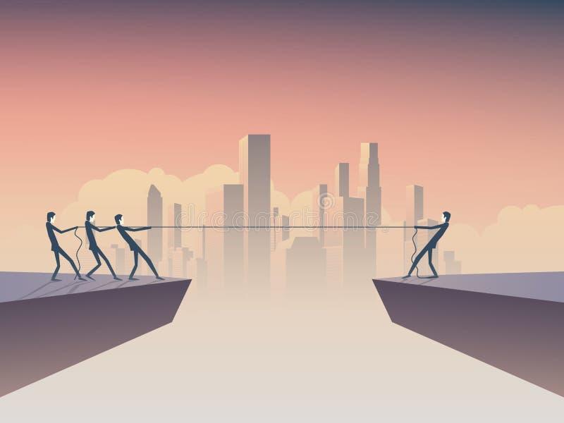 企业拔河概念与一个商人的传染媒介例证反对许多与公司背景地平线 向量例证