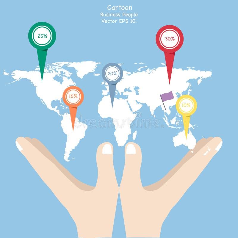 企业拿着世界地图地球的动画片手的概念 皇族释放例证
