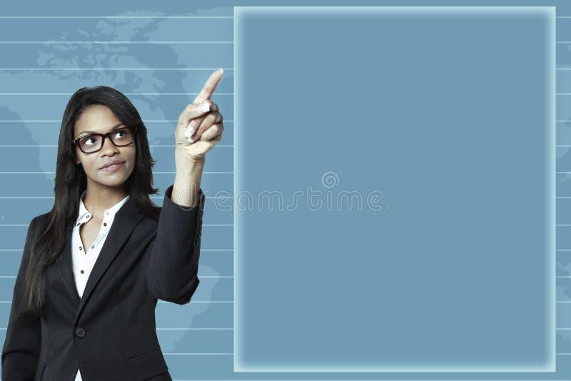 企业指向年轻人的女实业家图形 库存图片