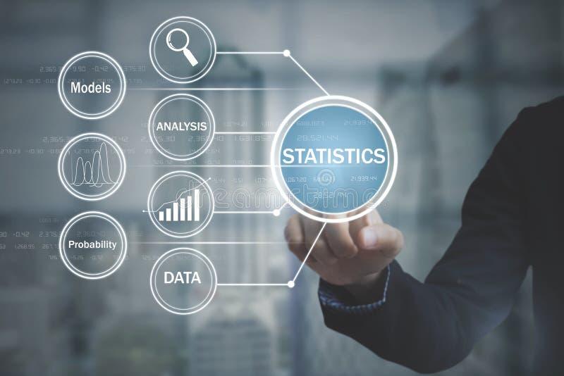企业按钮关于流程图统计的屏幕放映机 免版税库存图片