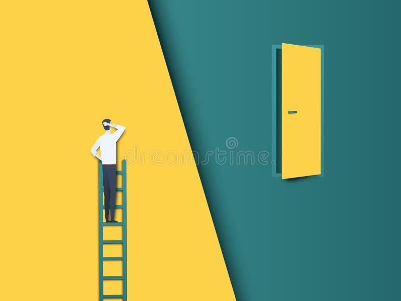 企业挑战与商人的传染媒介概念在远离门的梯子 现代纸保险开关传染媒介样式 标志  向量例证