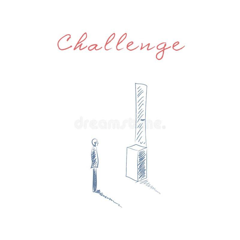 企业挑战与站立在门前面的人的传染媒介概念太高 障碍的标志,克服和 皇族释放例证