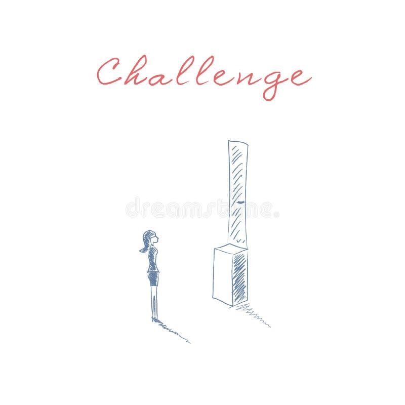 企业挑战与站立在门前面的妇女的传染媒介概念太高 女实业家歧视的标志 向量例证