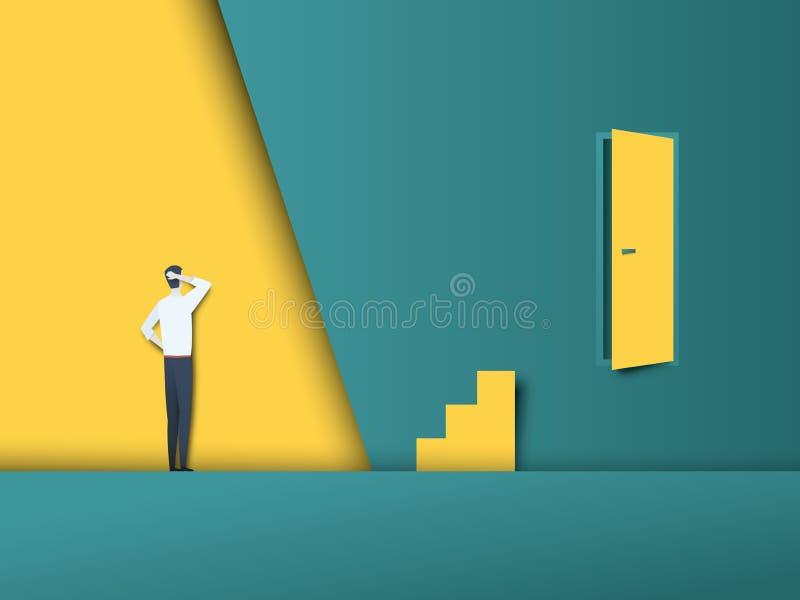 企业挑战和障碍传染媒介概念与门在墙壁和台阶上在错误地方,尝试的商人 库存例证