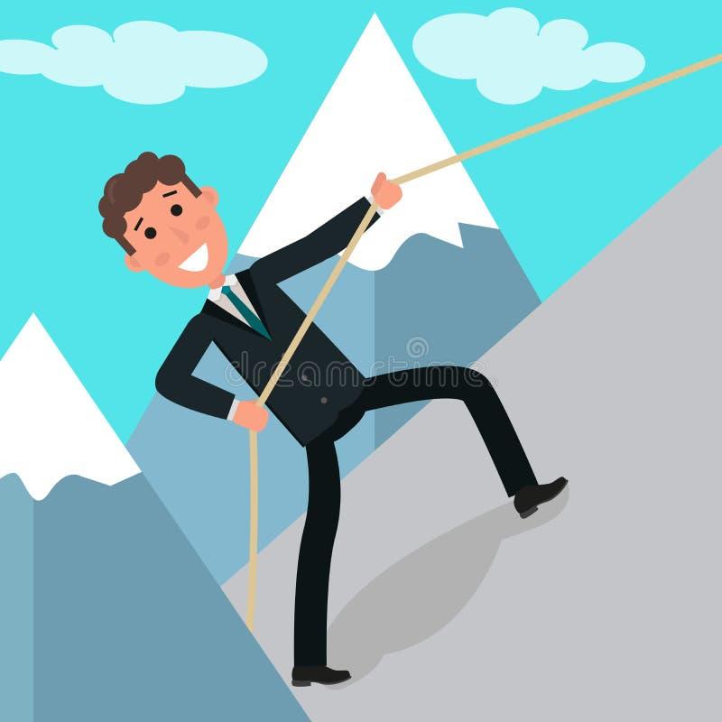 企业挑战的概念 上升在岩石的商人或经理 上升在上面的年轻勇敢的商人 向量例证