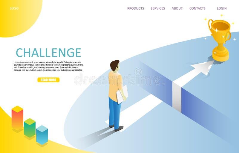 企业挑战着陆页网站传染媒介模板 向量例证