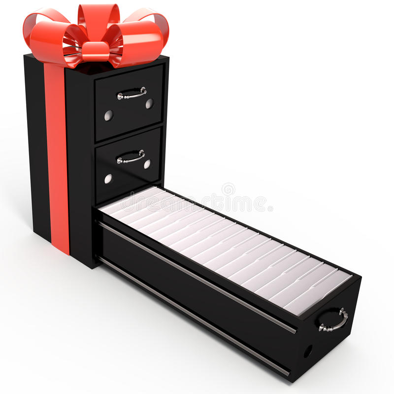 企业挑选构想最佳方式 档案橱柜是礼物盒, 3D 向量例证