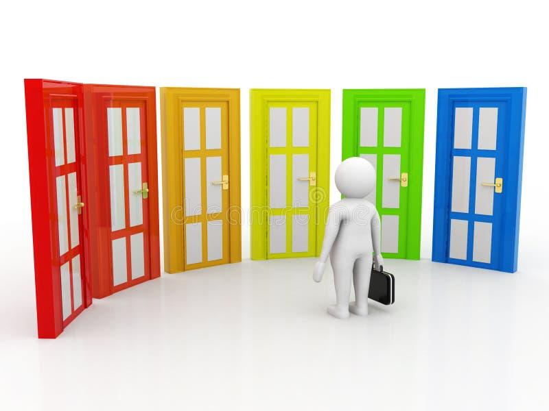 企业挑选概念、商人和门,半信半疑 在白色背景的挑选概念 3d例证 库存例证