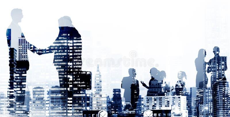 企业握手协议成交白领工人概念 免版税图库摄影