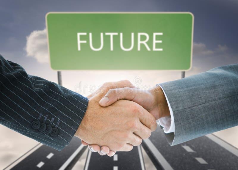 企业握手的综合图象反对未来委员会的 库存照片