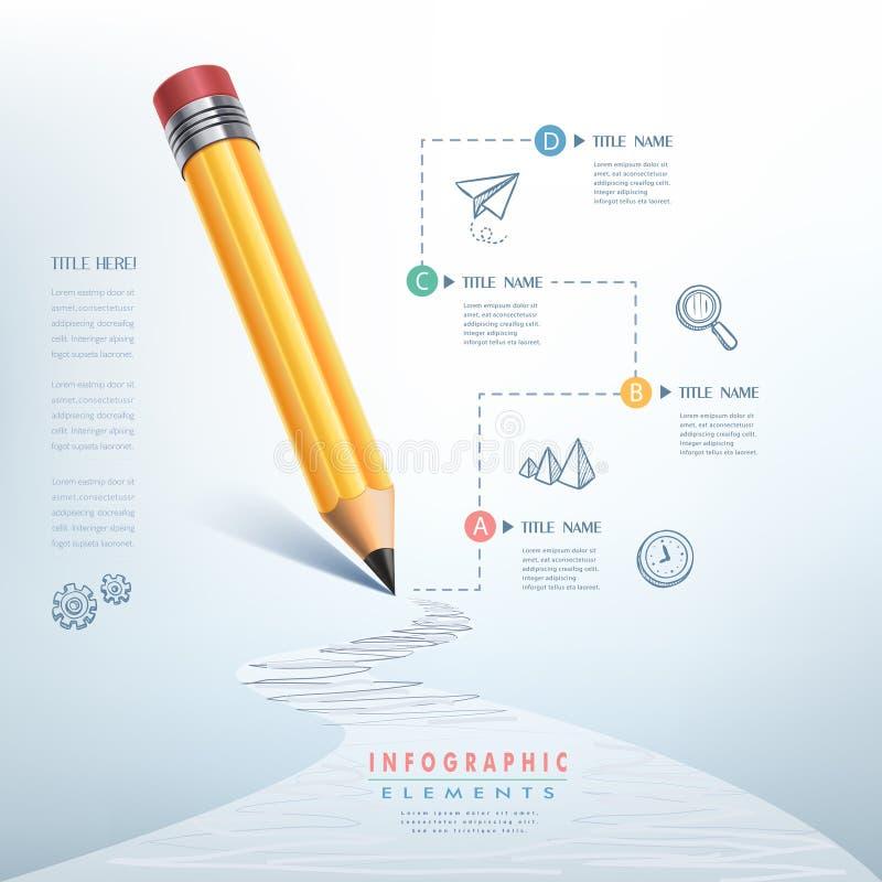 企业教育铅笔Infographics 皇族释放例证