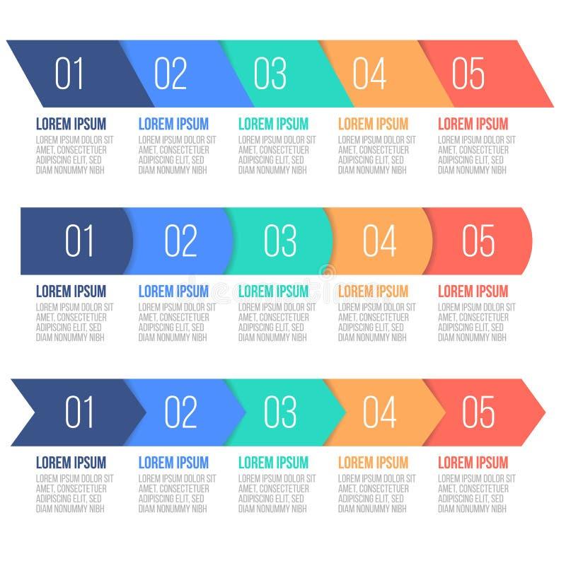 企业数据形象化 工艺卡片 图表、图与5步,选择、零件或者过程的抽象元素 向量 向量例证
